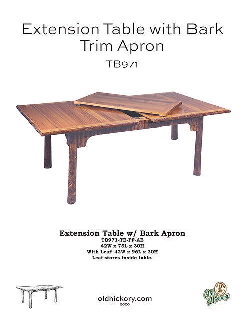 Extension Table with Bark Trim Apron - TB971
