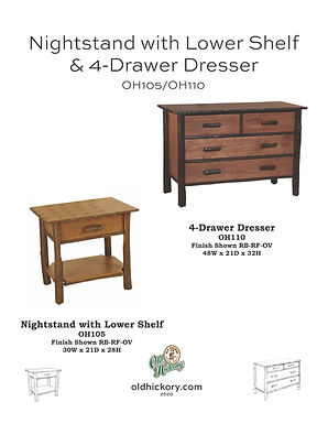 Nightstand with Lower Shelf & 4-Drawer Dresser - OH105/OH110