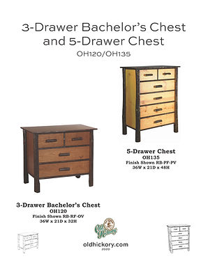3-Drawer Bachelor's Chest & 5-Drawer Chest - OH120/OH135