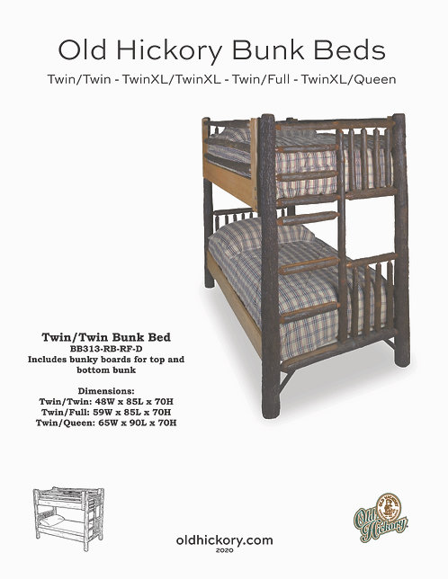 Old Hickory Classic Bunk Beds- BB313