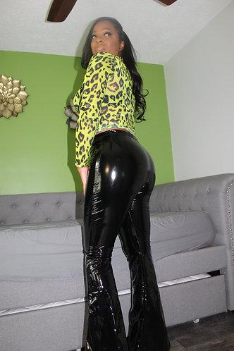 latex flare stretch pants