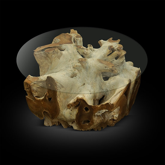 White Washed Teak Root Base 24x24
