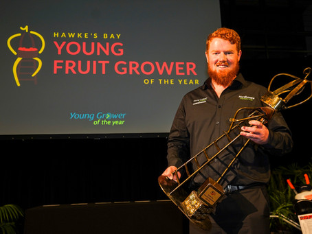 Regan Judd is named back-to-back winner of the Hawke's Bay Young Fruitgrower of the Year