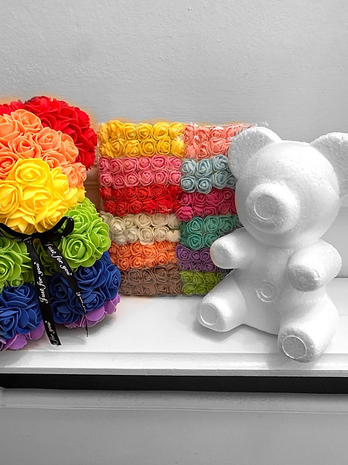 Rainbow rose bear D.I.Y kit