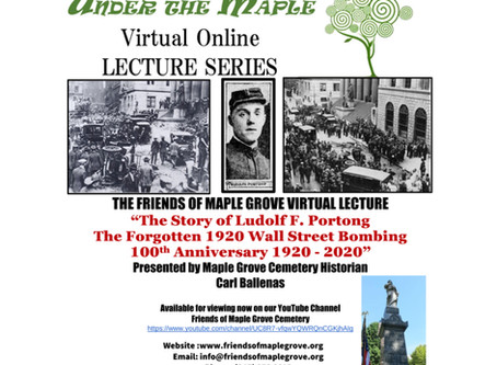 """Under The Maple """"The Story of Ludolf F. Portong & the Forgotten 1920 Wall Street Bombing"""""""