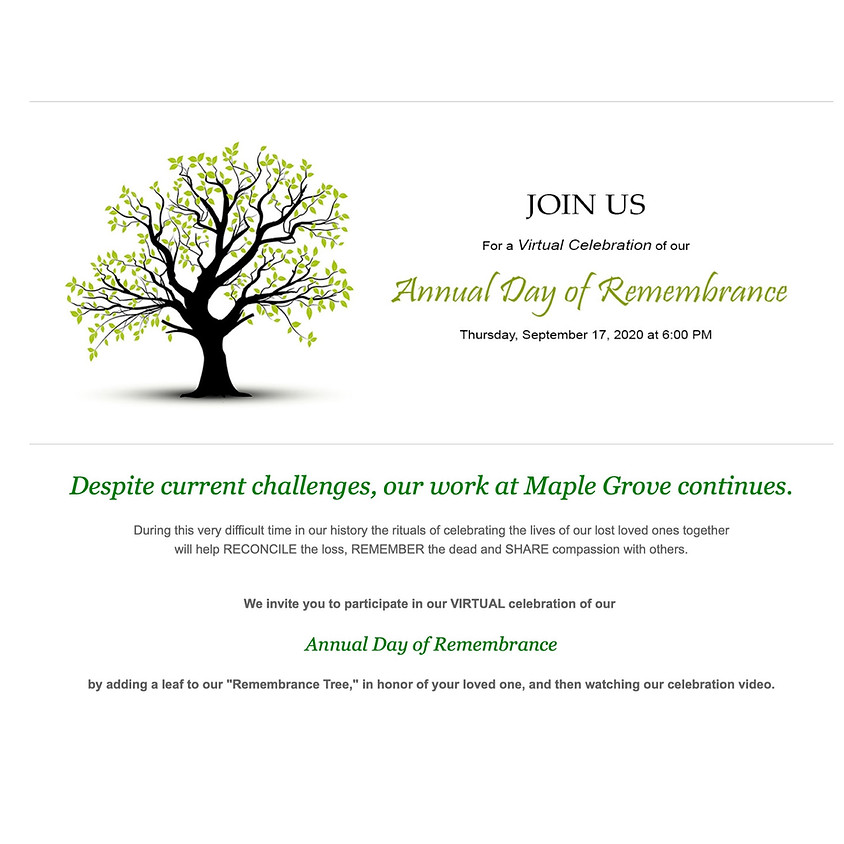 Annual Day of Remembrance Virtual Celebration
