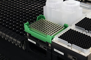 A Clickbio magnetic bead extraction plate for 96 well deep well plates or 96 well PCR plates and a Clickbio 2 well deep well plate for cell culture with 200ml working volume per well