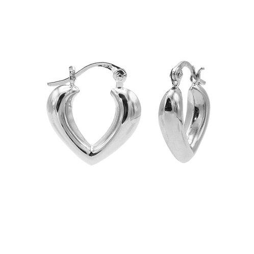 Karma oorbellen plain hoops heart shape ribble 15MM