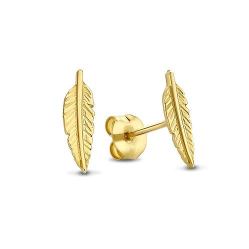 14k gouden oorbellen veertje