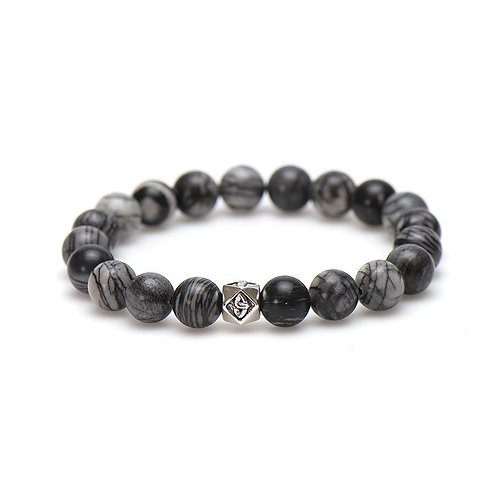 Karma mannen armband grey matters silver bead 10MM