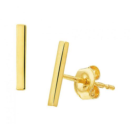 Gouden oorbellen staafjes 14k goud 8.5 mm