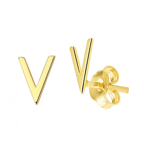Gouden V oorbellen 14k