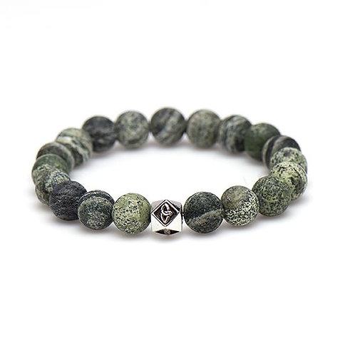 Karma mannen armband alligator silver bead 10MM