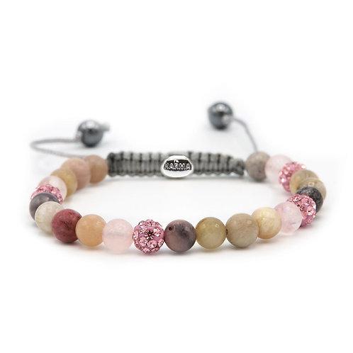 Karma armband spiral pink earth xs (pink crystal)