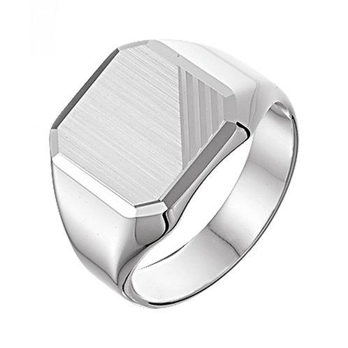 Matte  zegelring van zilver voor heren