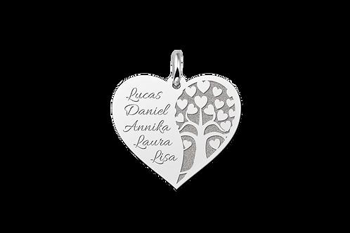 N4 Familieketting in hartvorm met levensboom en namen