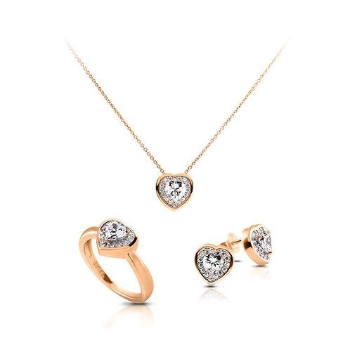 DF set ring, collier, oorbellen hart rose
