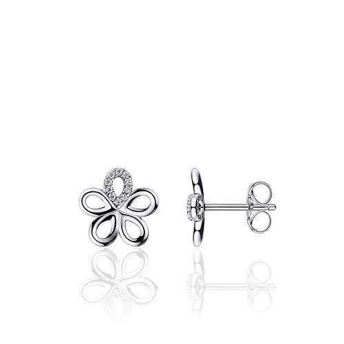 GS infinitois oorstekers gladde zilveren bloemblaadjes met zirkonia