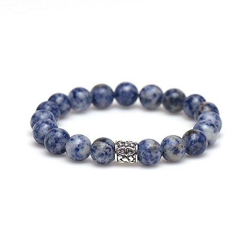 Karma mannen armband ocean blue silver bead 10MM