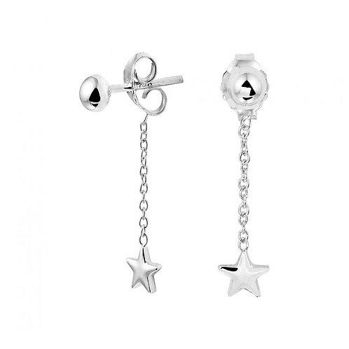 Zilveren oorbellen hangers met ster