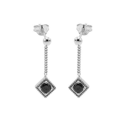 Karma oorbellen black zirkonia square diamond