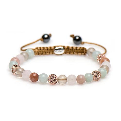 Karma armband spiral blossom  (rose crystal)