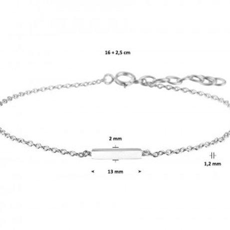 Zilveren armband met een balkje