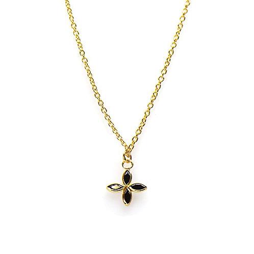 Karma ketting met zwarte zirkonia bloem