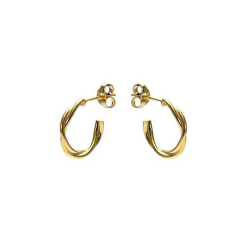 Karma oorbellen symbols xl loose twisted half goldplated