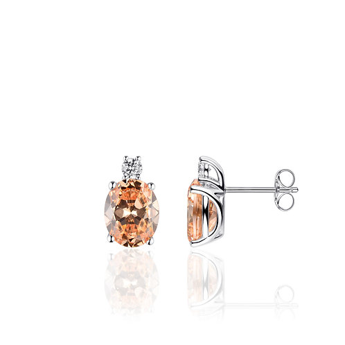 GS infinitois oorstekers met champagne kleurige zirconia's
