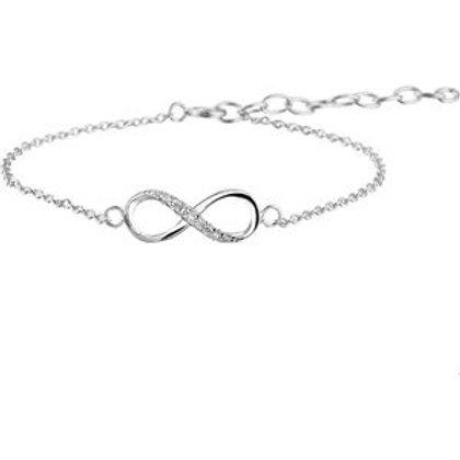 Zilveren infinity armband met zirkonia