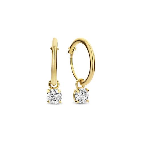 14k gouden oorbellen met zirkonia hanger
