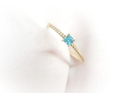 DJ gouden ring koord met turquoise gemstone