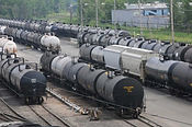 Rail tank cars in freight yard