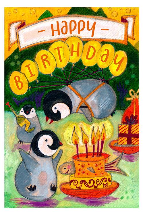 Happy Pingouins Postcard - Birthday