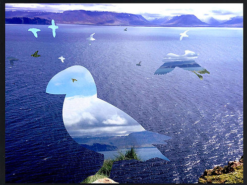 Photomontage Puffins over the fjord