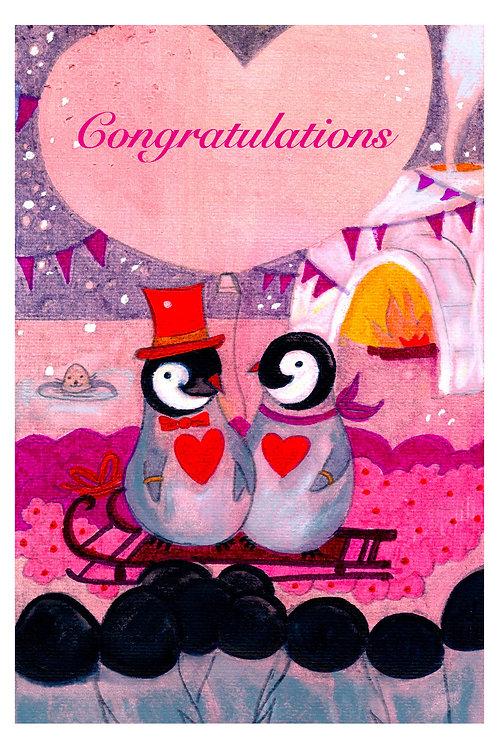 Happy Pingouins Postcard - Wedding