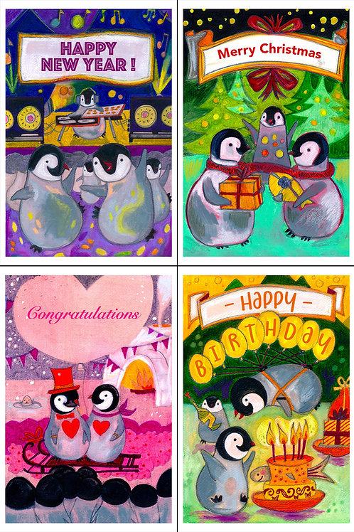 Four Happy Pingouins Postcards