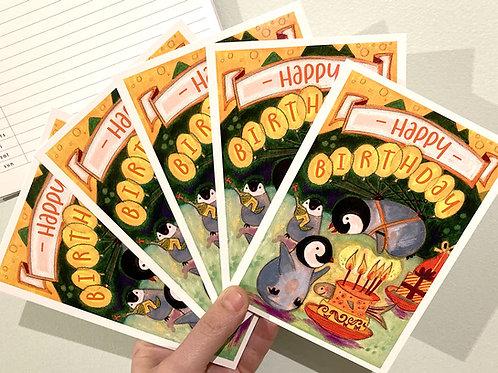 Five Happy Pingouins Postcards - Birthday
