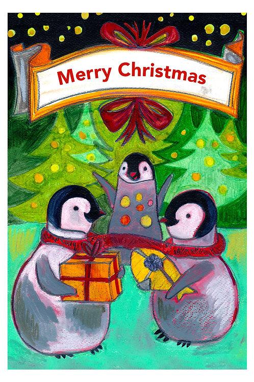 Happy Pingouins Postcard - Christmas