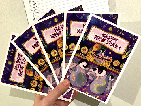 Five Happy Pingouins Postcards - New Year Eve