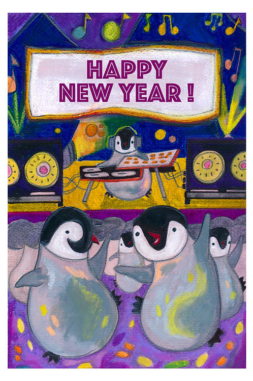 Happy Pingouins Postcard - New Year