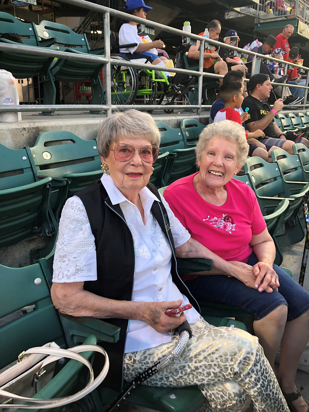 Vonny, left, and former UCPCC board member Bonnie Peterson enjoy UCPCC Night at the Fresno Grizzlies in 2019.