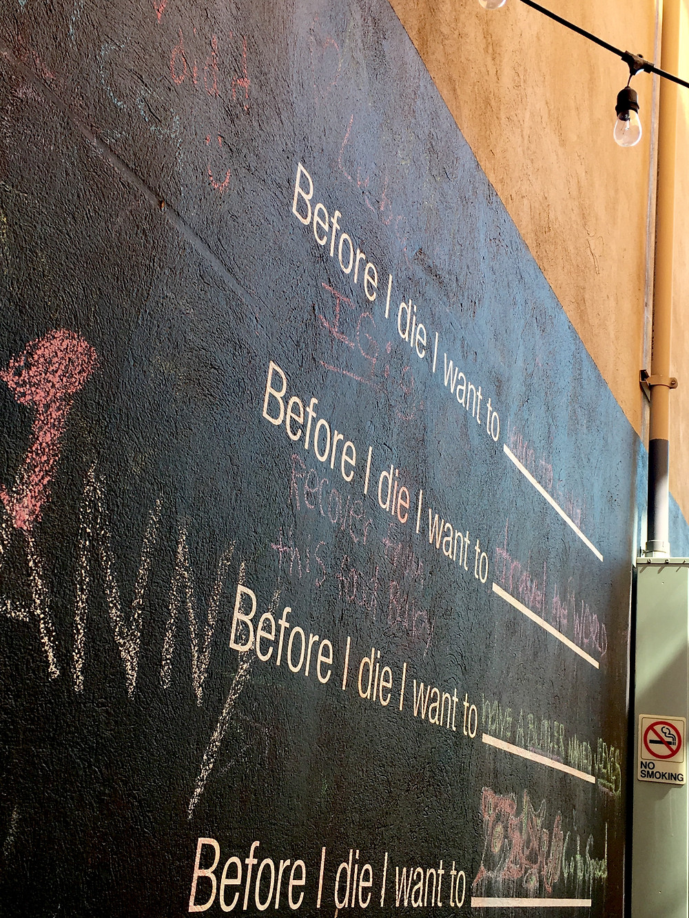 An interactive wall at the Redeye Cafe in Montclair NJ.