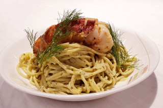 Butter Poached Lobster Tail on Cheese Cream Sauce with Spaghetti