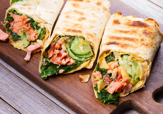 Salmon- Spinach-Cheese and Onion Burritos