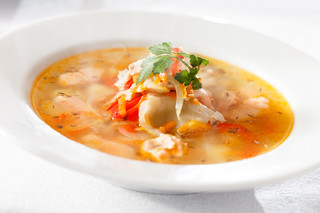 Spicy Fish Soup with Sweet Potato and Chilli
