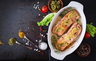 Baked Salmon Fillet with Rosemary Thyme and Honey