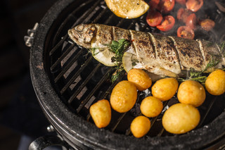 Stuffed BBQ Rainbow Trout with New Potatoes