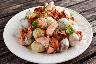 Salmon and Young Potato Warm Salad with a Lemon Yogurt Dressing